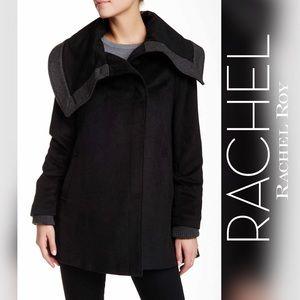 RACHEL ROY Ribbed Knit Trim Coat (XS)